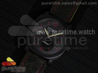PAM514 Bamford PVD Black Dial on Black Distressed Leather Strap A7750 (Free Rubber Strap)