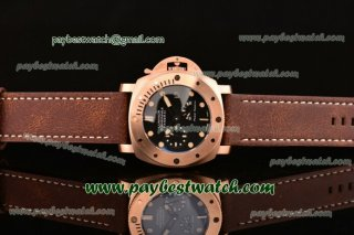 Panerai Luminor Submersible 1950 3 Days Power Reserve PAM00507 Black Dial Brown Leather Strap Rose Gold Watch