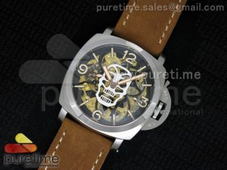 Luminer 47mm SS Skeleton White Skull Dial on Brown ASSO Strap A6497