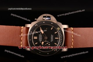 Panerai Luminor Submersible 1950's Amagnetic 3 Days Automatic Titanio PAM00389 Black Dial Brown Leather Titanium Watch