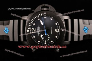 Panerai Luminor Submersible Flyback PAM 618 Black Dial White Markers Black Rubber Titanium Watch