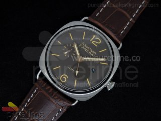 PAM421 3 Days GMT SS Brown Dial on Brown Leather Strap