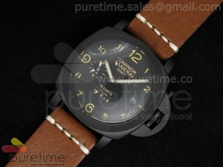 PAM402 1950 10 Days GMT PVD Black Dial on Custom Brown Leather Strap
