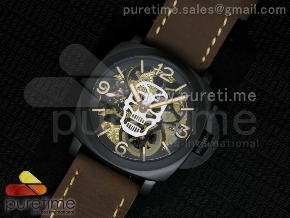 Luminer 47mm PVD Skeleton White Skull Dial on Deep Brown ASSO Strap A6497