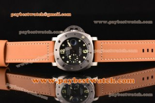 Panerai Luminor 1950 Submersible PAM243 Black Brown Leather Steel Watch