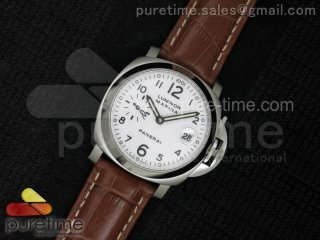 PAM049 F V6F 1:1 Best Edition White Dial on Brown Leather Strap A7750