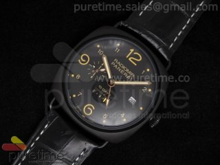 PAM497 Radiomir 10 days GMT PVD Black Dial on Hand-Stitched Black Leather Strap A23J