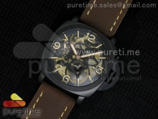 Luminer 47mm PVD Skeleton Black Skull Dial on Deep Brown ASSO Strap A6497