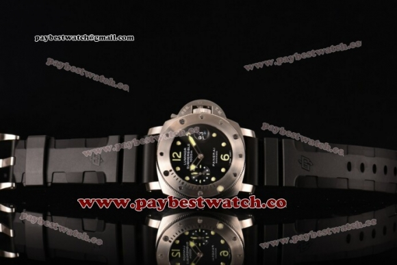 Panerai Luminor Submersible PAM 024 Black Dial Black Rubber Steel Watch (H)