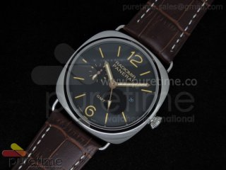 PAM421 3 Days GMT SS Black Dial on Brown Leather Strap