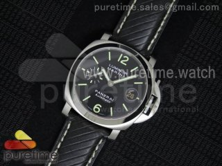 PAM048 H V6F 1:1 Best Edition Black Dial on Black Leather Strap A7750