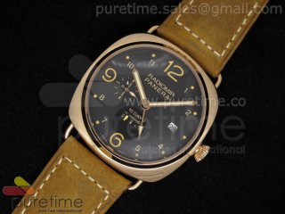PAM497 Radiomir 10 days GMT RG Black Dial on Brown Leather Strap A23J