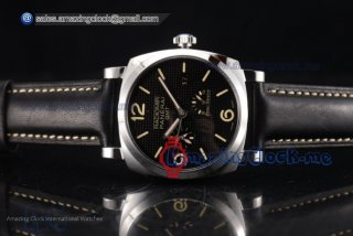 Radiomir 1940 3 Days GMT Power Reserve SS Black Dial Black Leather - AST25