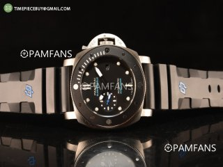 Panerai Luminor Submersible Black Bezel With Steel Case Automatic Rubber Strap Black Dial PAM00683