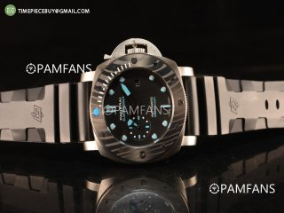 Panerai Luminor Submersible Fake Carbon Bezel With Steel Case Automatic Rubber Strap Black Dial PAM00799