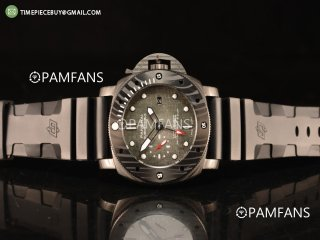Panerai Luminor Submersible All Black Steel Case With Fake Carbon Bezel Automatic Rubber Strap Grey Dial PAM01039