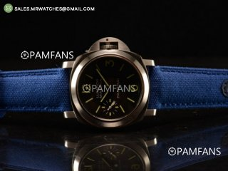 Panerai Luminor Logo Marina Steel Case Black Dial Blue Leather Strap A7750