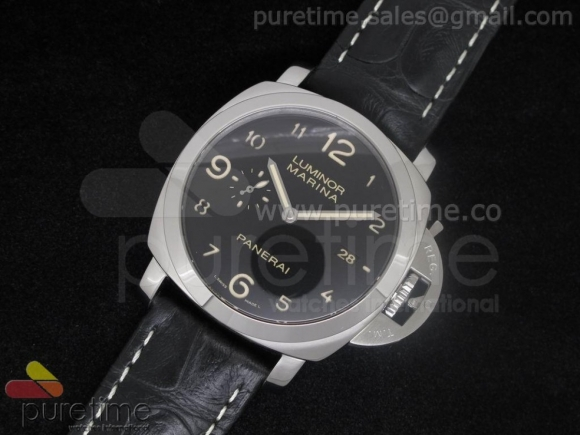 PAM359 O 1:1 Best Edition on Black Croc-style Leather Strap P.9000 Movement