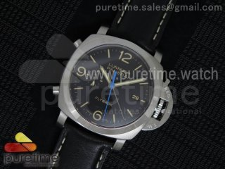 PAM524 Q V6F Fake Flyback Black Dial on Black Leather Strap P.9100