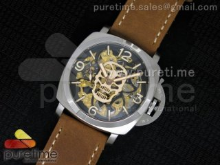 Luminer 47mm SS Skeleton Gold Skull Dial on Brown ASSO Strap A6497