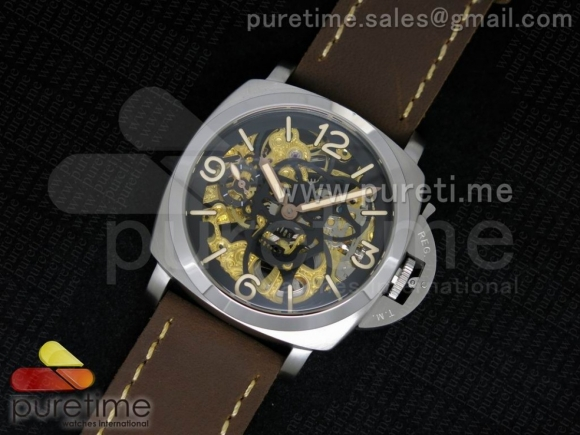 Luminer 47mm SS Skeleton Black Skull Dial on Deep Brown ASSO Strap A6497