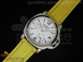 PAM049 White Dial on Yellow Leather Strap A23J