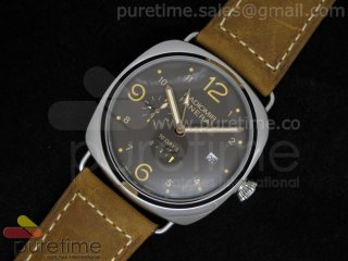 PAM497 Radiomir 10 days GMT SS Brown Dial on Hand-Stitched Brown Leather Strap A23J