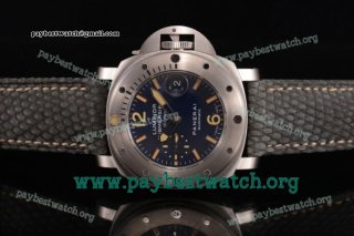 "1:1 Panerai Luminor Submersible 1000m ""La Bomba"" PAM087 Blue Dial Grey Leather Steel Watch (H)"