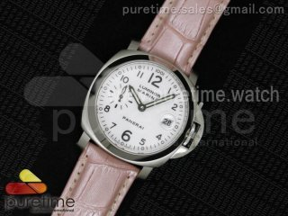 PAM049 F V6F 1:1 Best Edition White Dial on Pink Leather Strap A7750