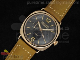 PAM421 GMT RG Black Dial on Brown Leather Strap