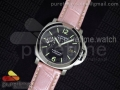 PAM048 H V6F 1:1 Best Edition Black Dial on Pink Leather Strap A7750