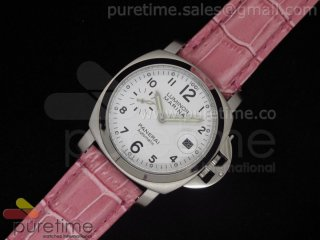 PAM049 White Dial on Pink Leather Strap A23J