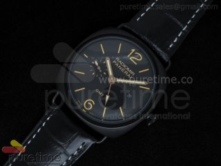 PAM421 3 Days GMT PVD Black Dial on Black Leather Strap