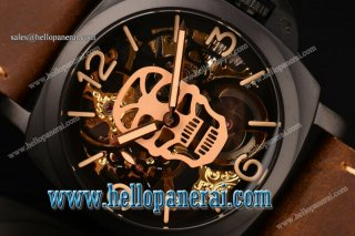 Panerai Luminor Marina 1950 3 Days PVD Skeleton/Gold Skull Dial Swiss ETA 6497 Manual Winding PAM 427