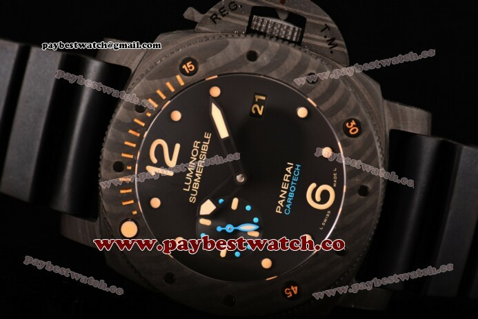Panerai Luminor Submersible 1950 Carbotech - 3 Days Automatic PAM 616 Black Dial Black Rubber Real Carbon Fiber Watch