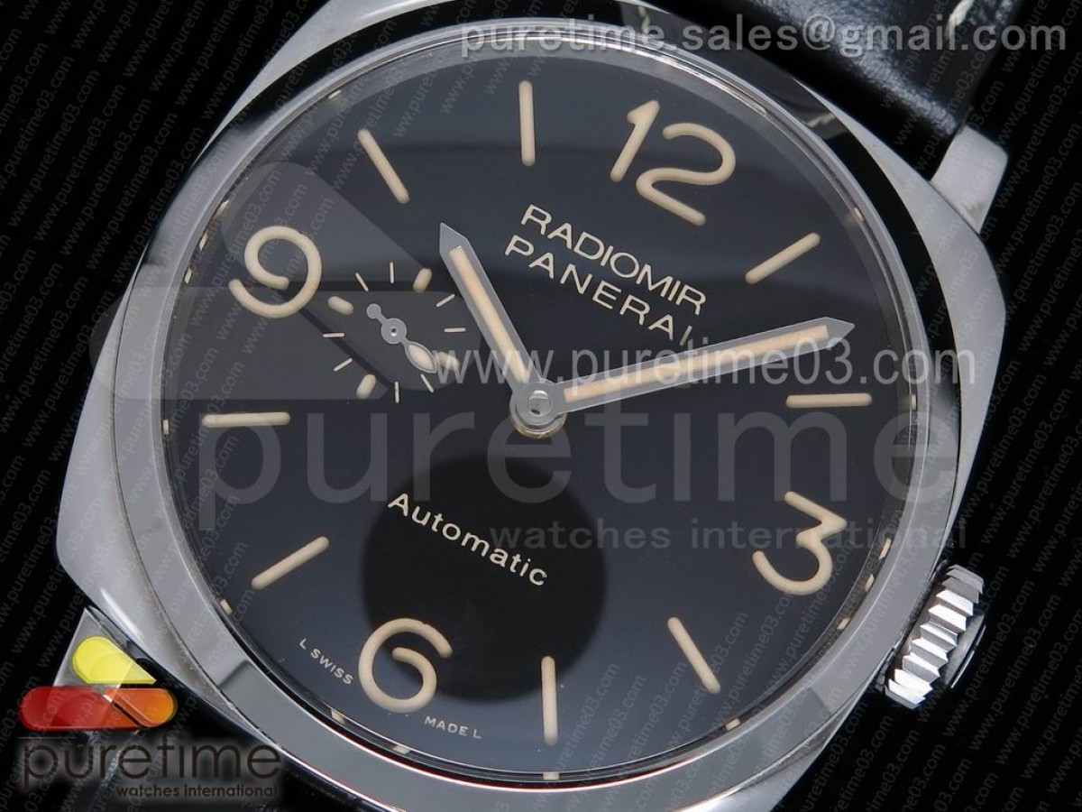 PAM572 Q Radiomir 1940 SF 1:1 Best Edition Black Dial on Black Leather Strap P.4000 Super Clone