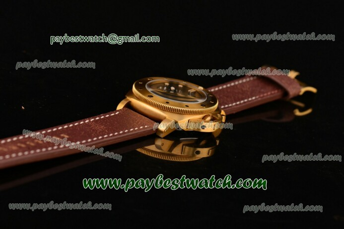 Panerai Luminor Submersible 1950 3 Days Power Reserve PAM00507 Black Dial Brown Leather Strap Yellow Gold Watch