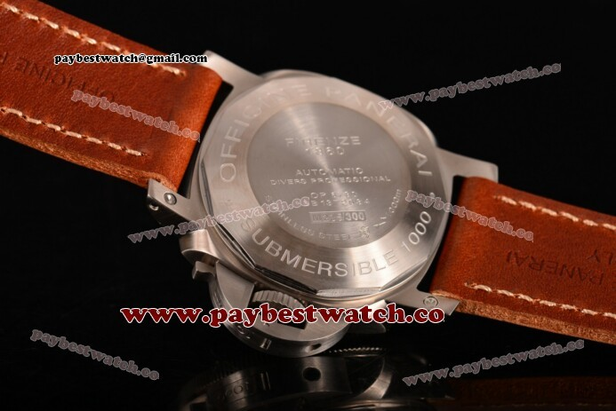 Panerai Luminor Submersible PAM 024 Black Dial Brown Leather Steel Watch (H)