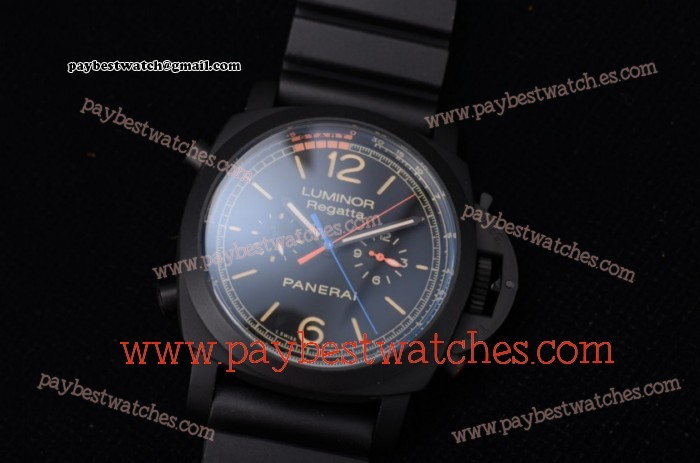 Panerai Luminor 1950 Regatta 3 Days PAM 527 Black Dial Blak Rubber PVD Watch
