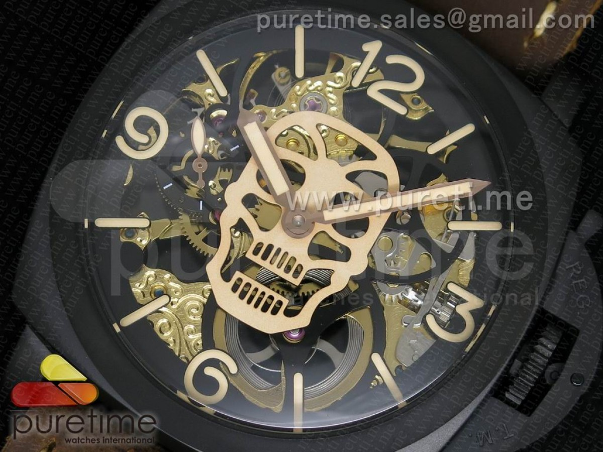 Luminer 47mm PVD Skeleton Gold Skull Dial on Deep Brown ASSO Strap A6497