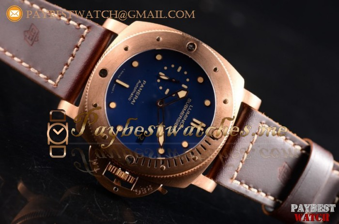 1:1 Panerai Luminor Submersible 1950 3 Days Automatic PAM 671 Blue Dial Brown Leather Bronzo Watch (ZF)