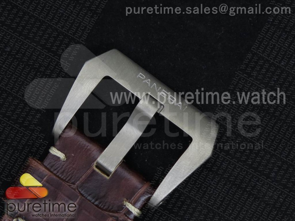 PAM351 Q V6F 1:1 Best Edition Lite on Brown Leather Strap P9000