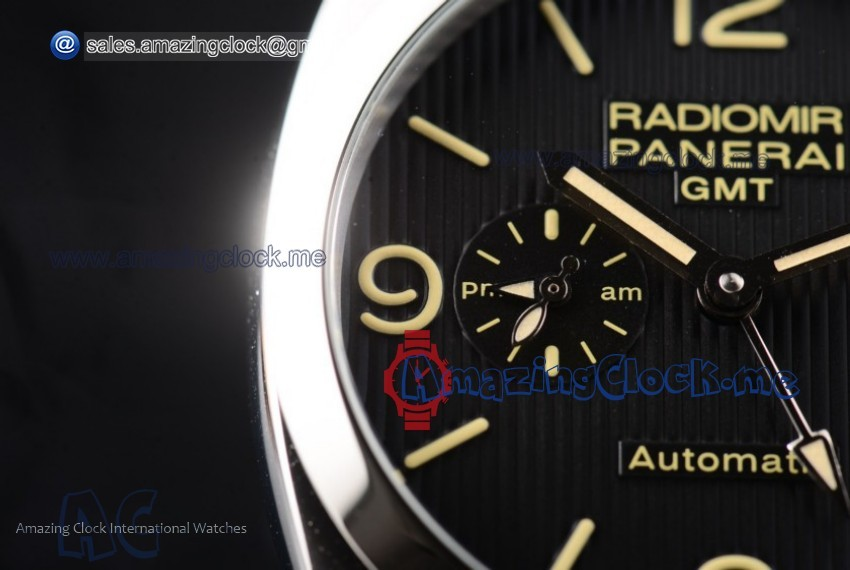 PAM00627 Radiomir 1940 3 Days GMT Automatic SS Black Dial Brown Leather - AST25