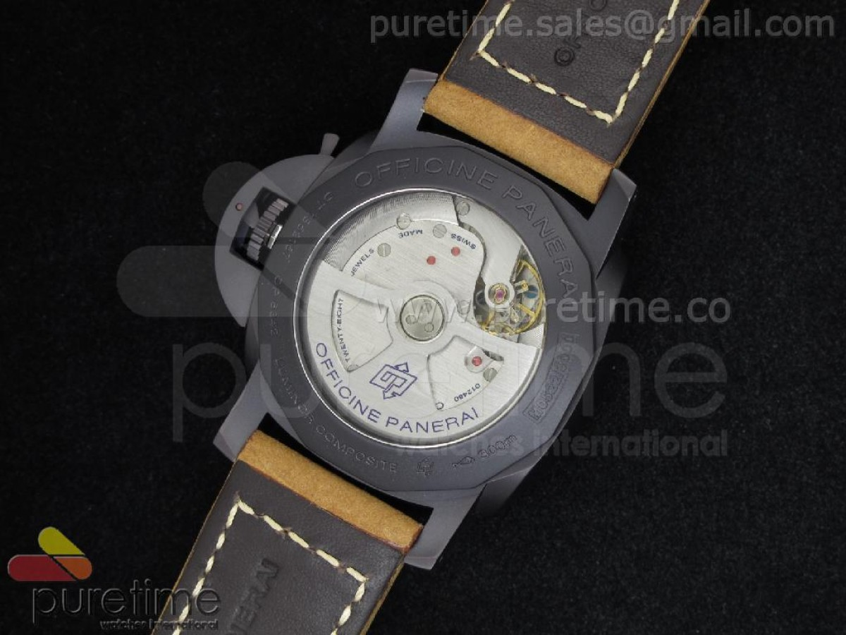 PAM386 M Composite 1:1 Best Edition on Brown Croc-style Strap P.9000 Movement