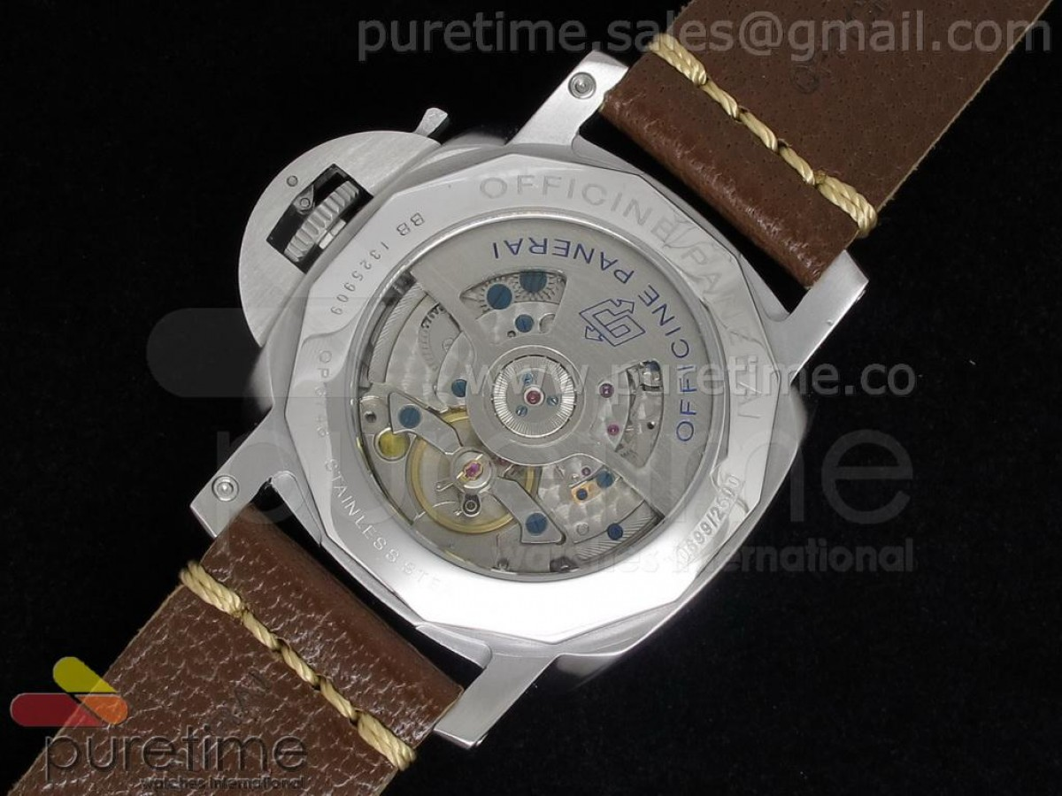 PAM402 1950 8 Days GMT Brown Dial on Custom Brown Leather Strap