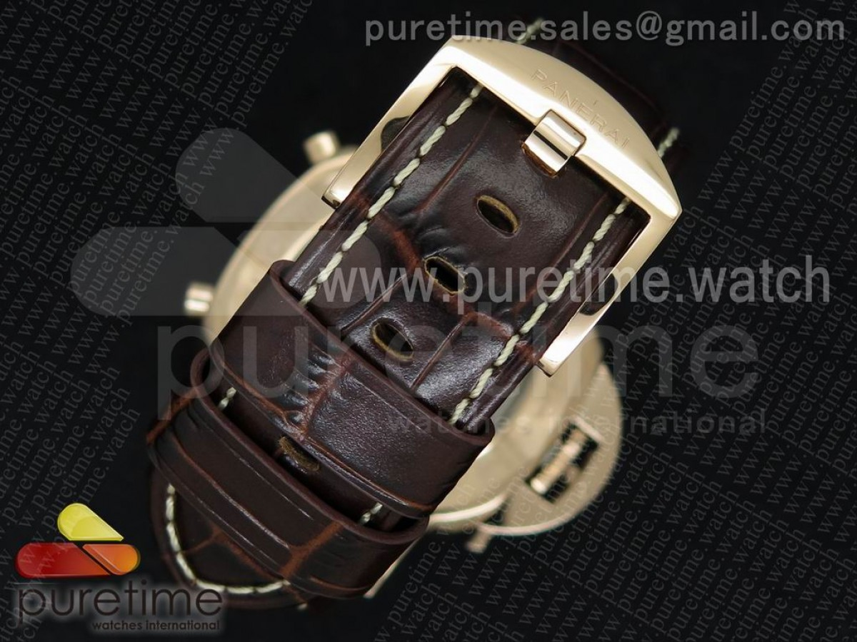 PAM525 P RG V6F Black Dial on Brown Leather Strap P.9100
