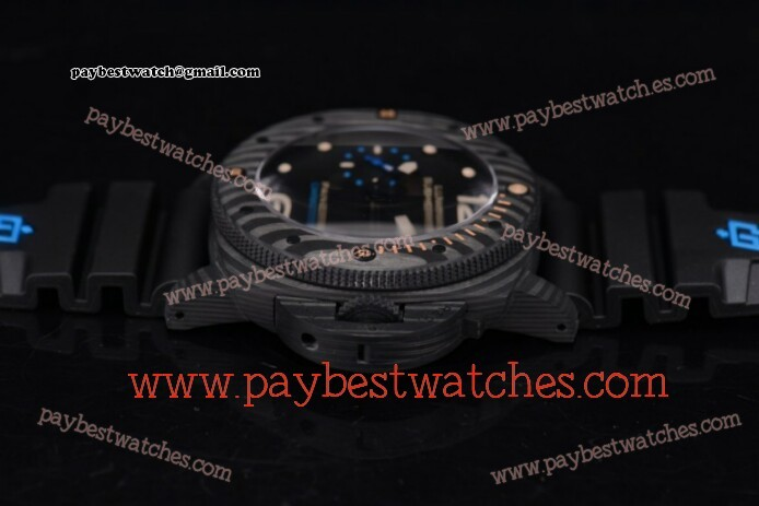 Panerai Luminor Submersible 1950 Carbotech - 3 Days Automatic PAM 616 Black Dial Black Rubber Carbon Fiber Watch