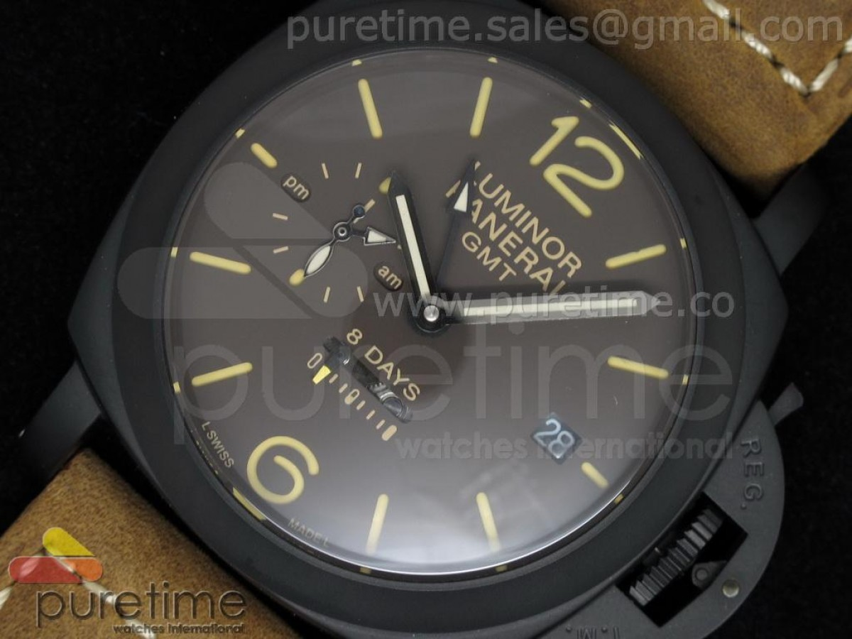 PAM402 1950 8  Days GMT PVD Brown Dial on Brown Leather Strap