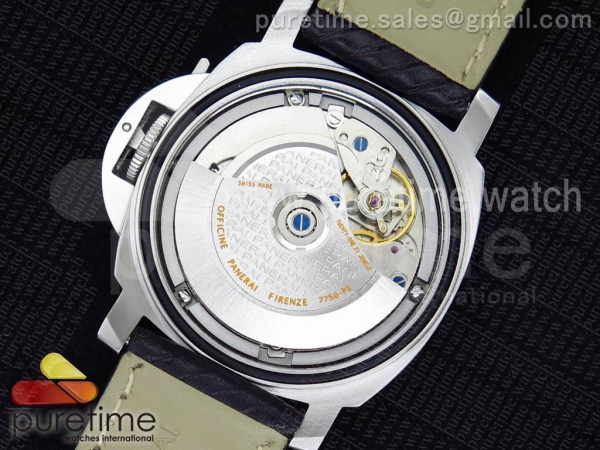 PAM048 H V6F 1:1 Best Edition Black Dial on White Leather Strap A7750